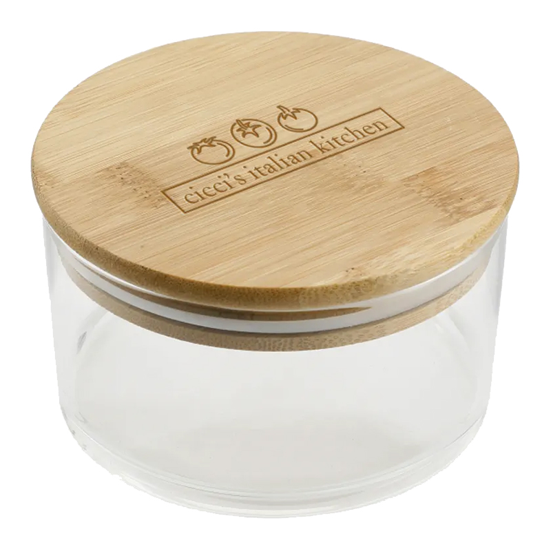 Custom Glass Food Container with Bamboo Lid