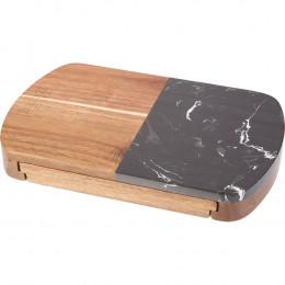 Custom Wood and Black Marble Cheese Board Set