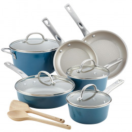 Home Collection Aluminum Cookware Set Twilight Teal 12pc