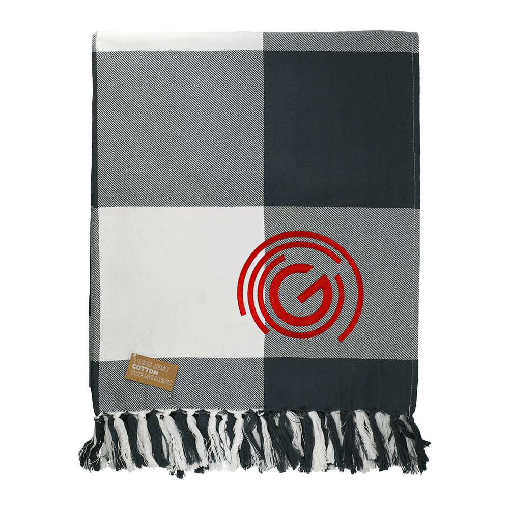 Custom Field & Co. 100% Organic Cotton Check Throw Blanket