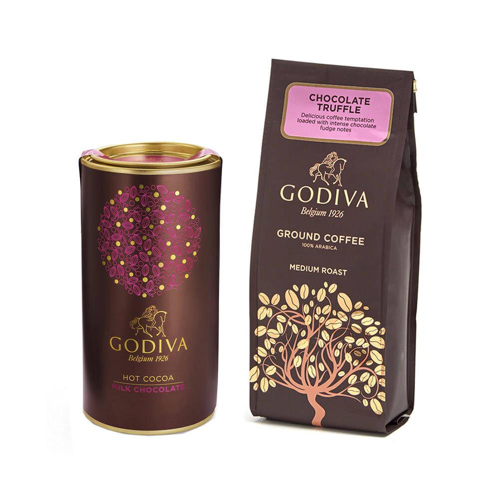 Godiva Chocolate Coffee and Milk Chocolate Cocoa Gift Set