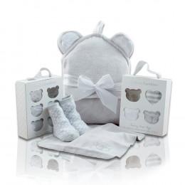 Squeaky Clean Baby Washcloths, Hooded Towel & Socks Gift Set