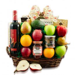 Jerusalem Wine, Fruit & Kosher Food Gift Basket