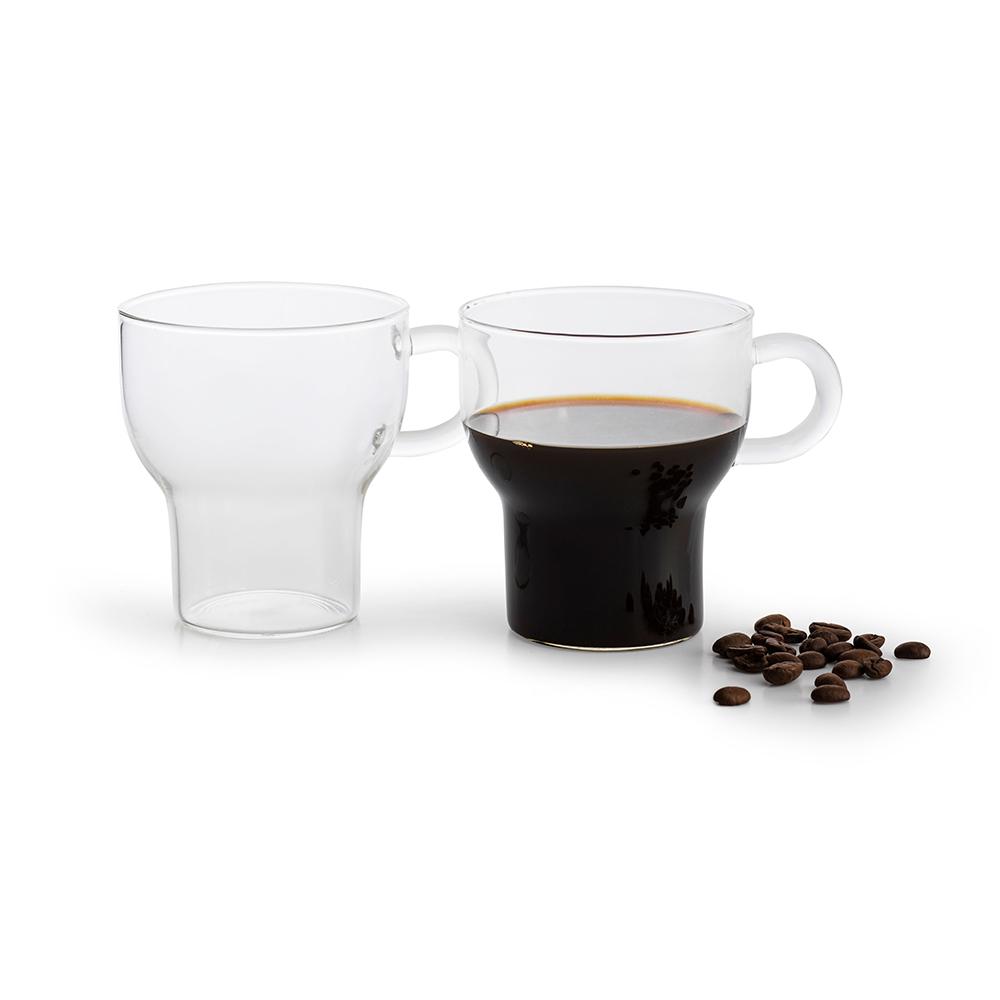 Clear 25 cl Glass Mug - 2pc