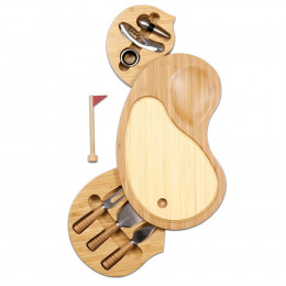 Sand Trap-Cutting board with wine and cheese tools
