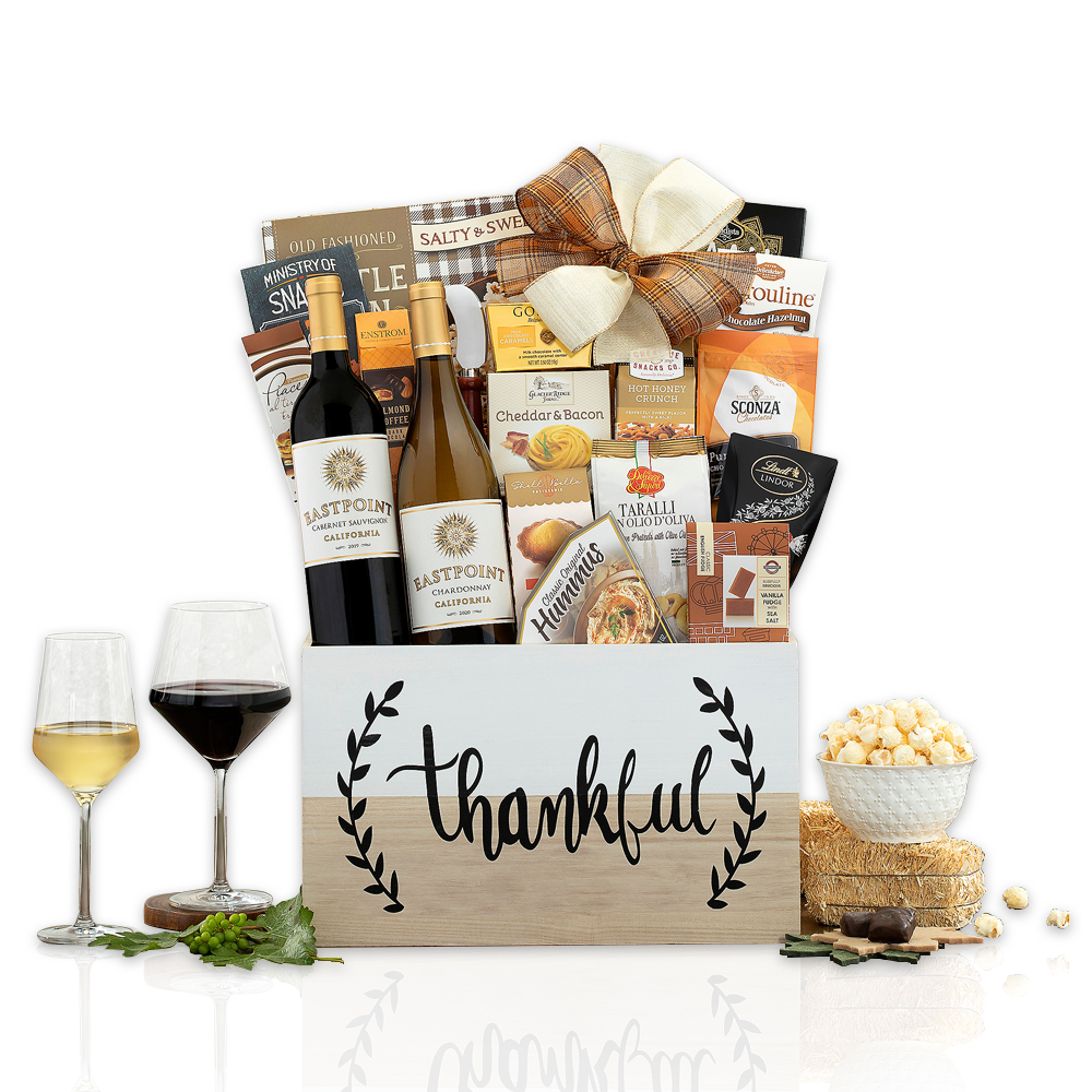 Thankful Red and White Wine Gift Basket