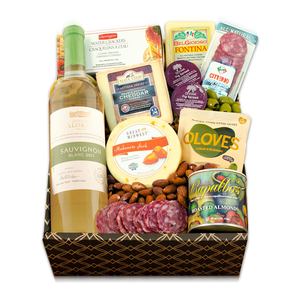 White Wine, Cheese & Crackers Classic Collection Gift Box
