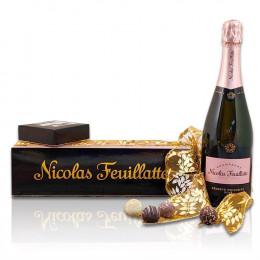 Nicolas Feuillatte Brut Rosé Champagne & Truffles Gift Basket