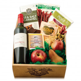 Fruit, Cheese & Flat Rock Merlot Wine Gift Box