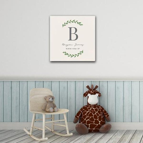 """Personalized Baby's Monogram Vine 18"""" x 18"""" Canvas"""