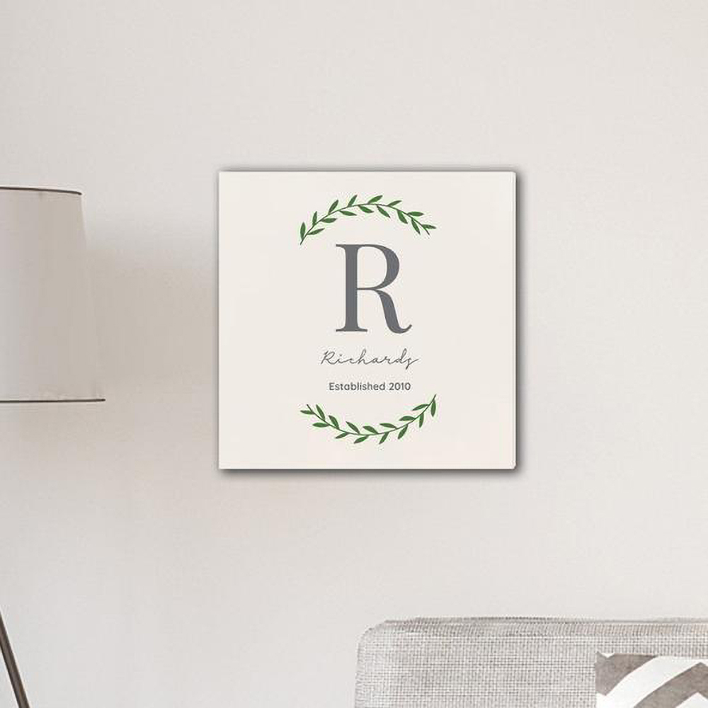 """Personalized Family Initial Vine 18"""" x 18"""" Canvas"""