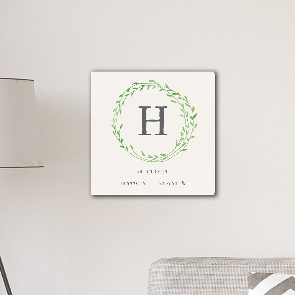 """Personalized Family Initial Wreath & Vine 18"""" x 18"""" Canvas"""