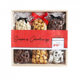 Custom Holiday Chocolate, Pretzel and Caramel Corn Set
