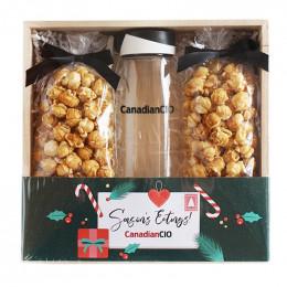 Custom Holiday Bottle and Caramel Corn Set