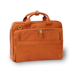 Custom Leather Accordion Briefcase with Top Handle