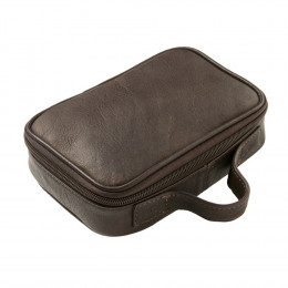 Custom Grained Leather Travel Accessory Case