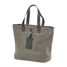 Custom Waxed Canvas Shopper Tote Bag with Leather Tag