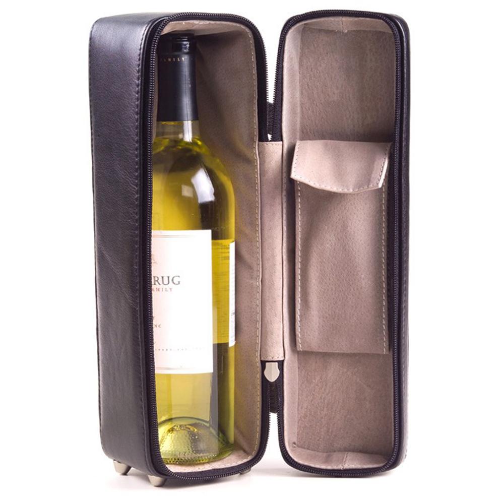 Leather Wine Bottle Carrier Bag (Optional Engraving)