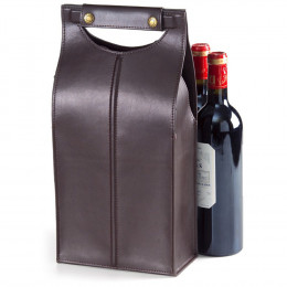 Custom Leather Two Bottle Carrier Bag