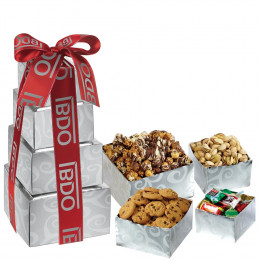 Tower of Chocolates, Nuts, Cookies and Popcorn Treats