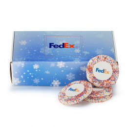 12 pc Logo Sugar Cookies with Brand Color Sprinkles and Custom Mailer Box