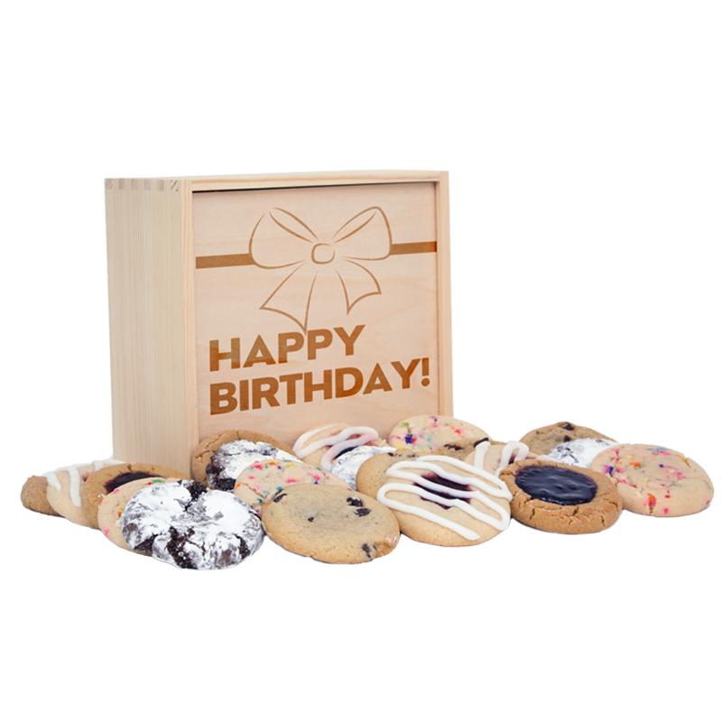 Happy Birthday Medium Deluxe Wood Cookie Gift Box