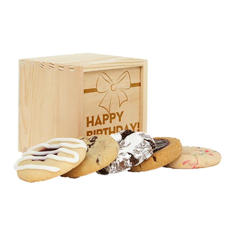 Happy Birthday Mini Deluxe Wood Cookie Gift Box