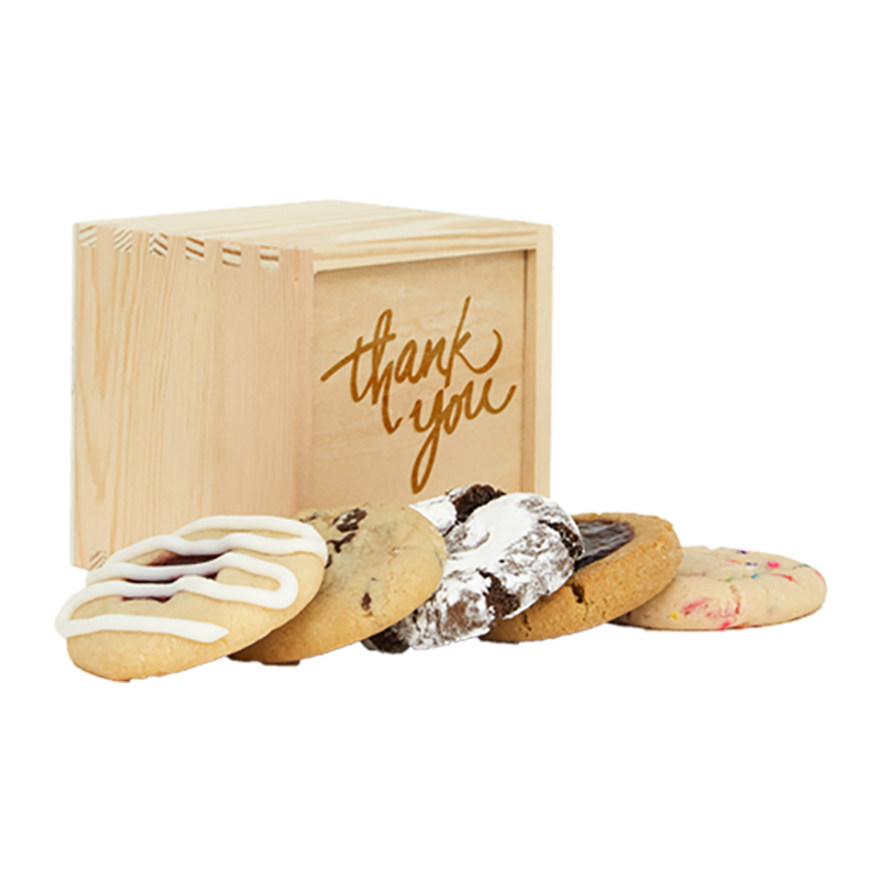 Thank You Mini Deluxe Wood Cookie Gift Box