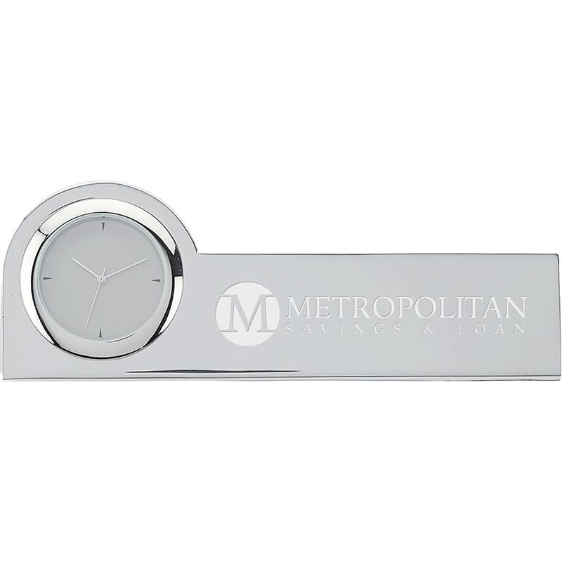 Custom Struttura III Clock & Business Card Holder