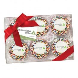 Custom Chocolate Covered Oreo® Half Dozen Gift Box with Sprinkles