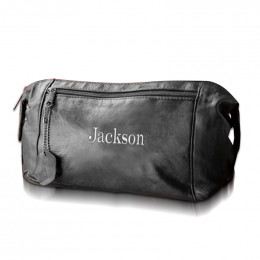 Personalized Embroidered Leather Travel Kit