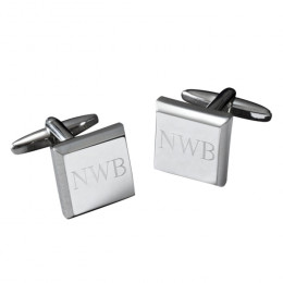 Personalized Silver Cufflinks Modern Square