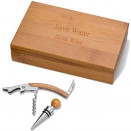 Personalized Bamboo Wine Kit
