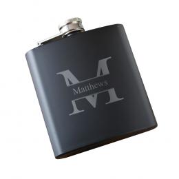 Monogrammed Black Matte Flask