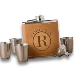 Personalized Durango Hide Stitch Flask Set