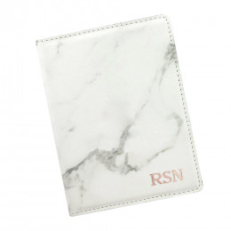 Personalized Monogram Marble Passport Holder - Stamped Foil