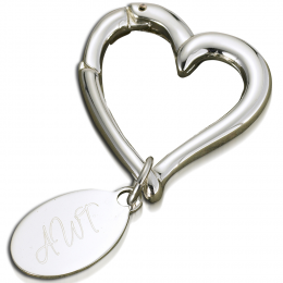 Personalized Heart Keychain with Oval Tag