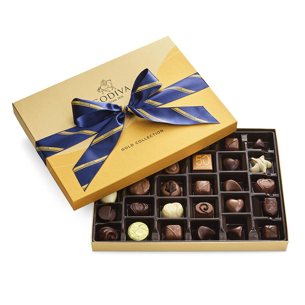 Godiva Assorted Chocolate Gold Gift Box Striped Tie 36 pc.