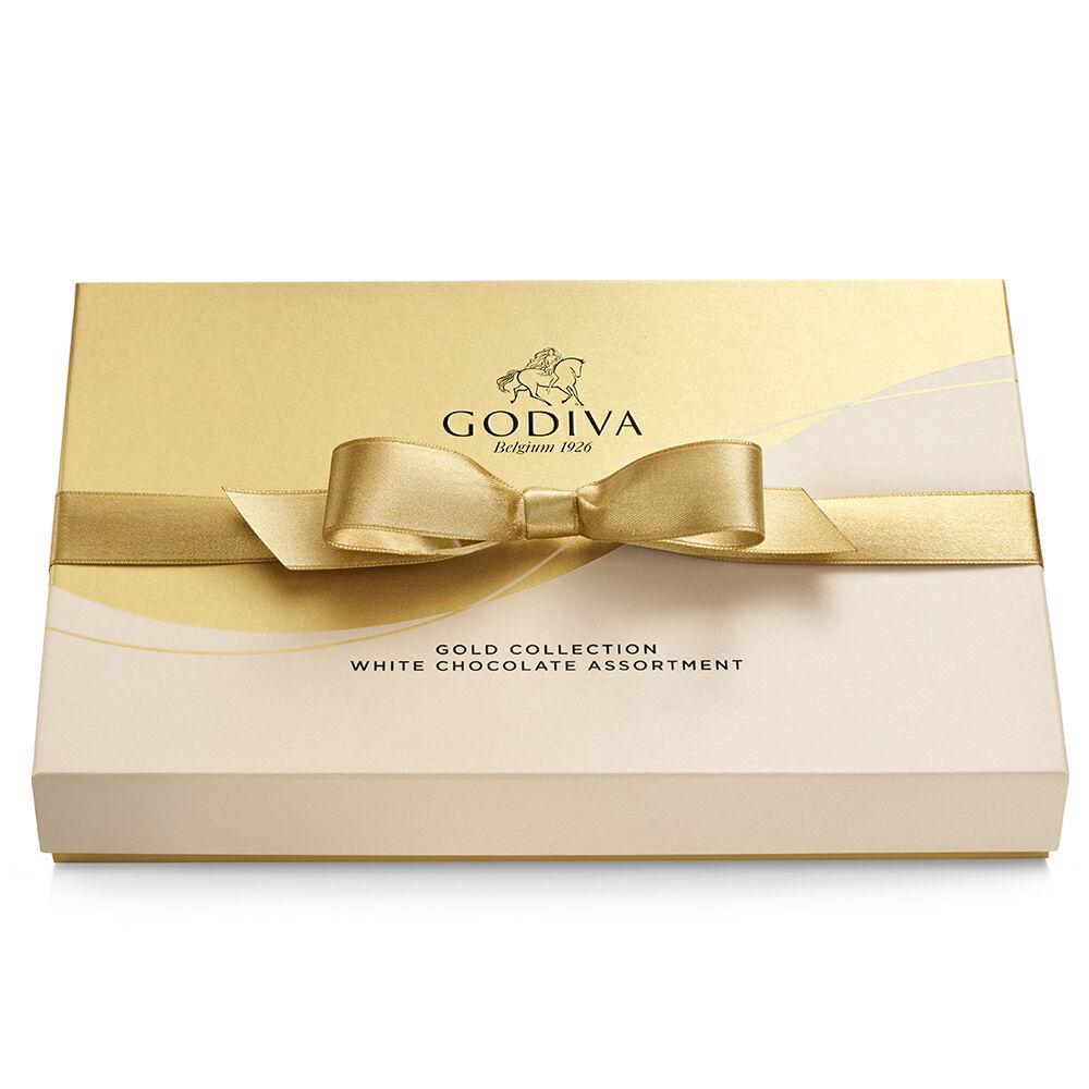 Godiva White Chocolate Assortment Gift Box Gold Ribbon 22 pc.