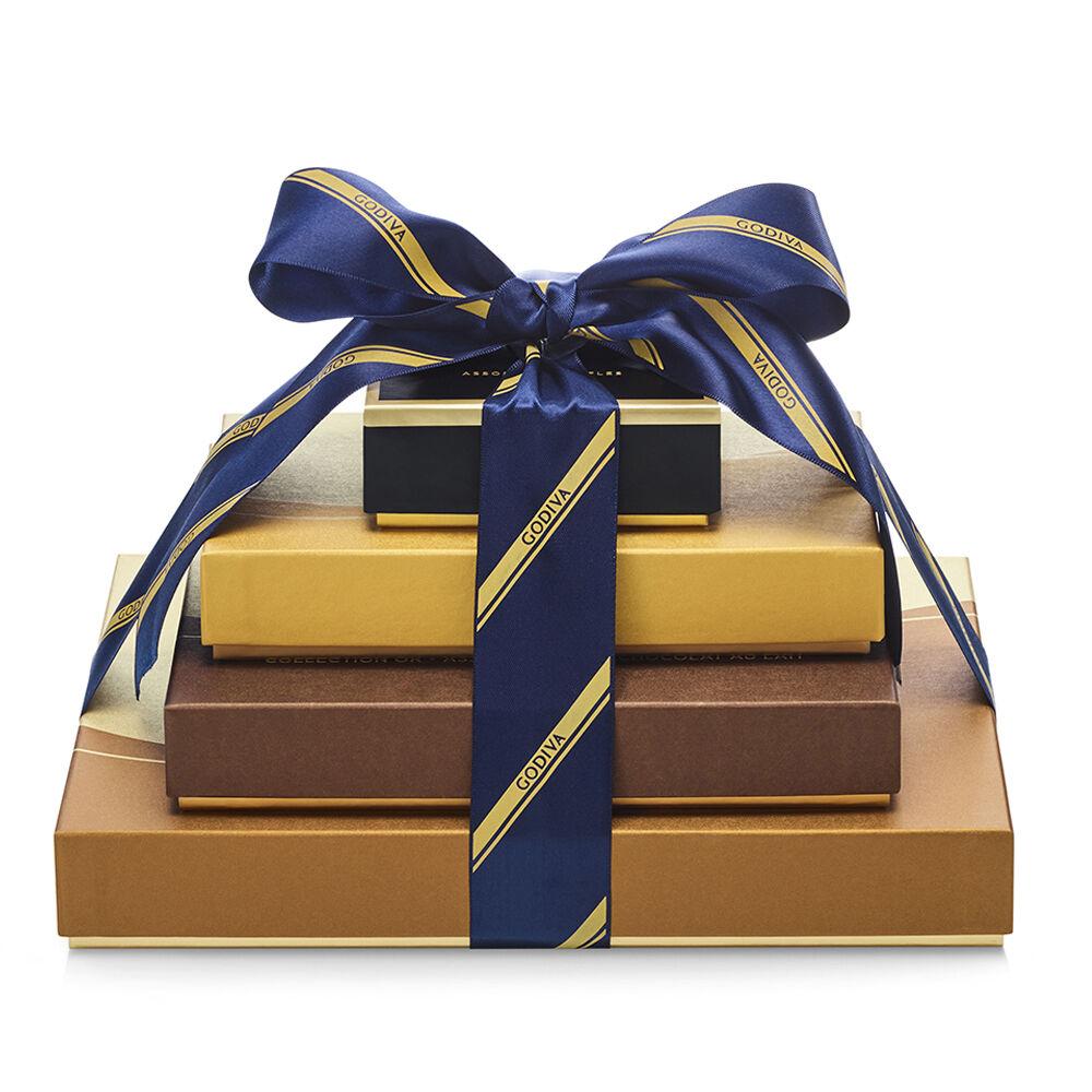 Godiva Sweet Surprise Gift Tower Striped Tie Ribbon