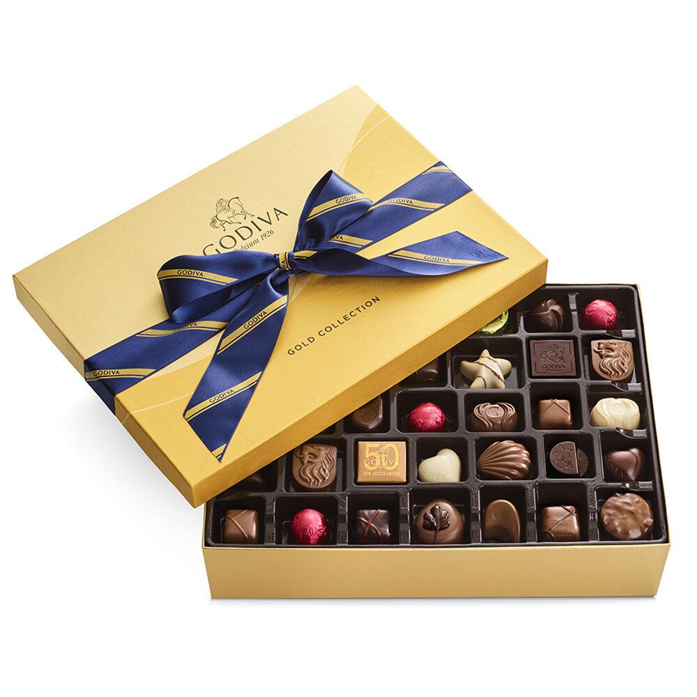 Godiva Assorted Chocolate Gold Gift Box Striped Tie Ribbon 70 pc.