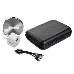 6,000 mAh Custom Disc Power Bank With Cable and Adapter Gift Set