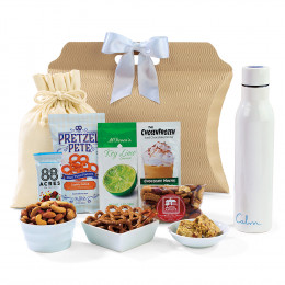 Snacks and Sips Gift Tote with Personalized Bottle