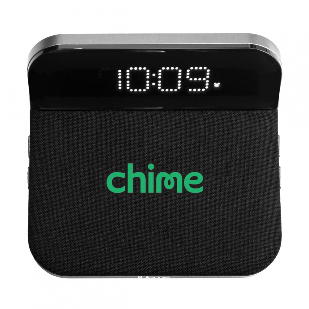 Custom IHome IW18 Compact Alarm Clock with Qi Wireless Charging and USB Charging