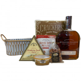 Woodford Reserve 750ml Bourbon and Snacks Gift Basket