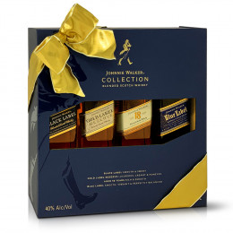 Johnnie Walker collection 4-Pack 200ml Bottles Happy Hour Set with Gift Packaging