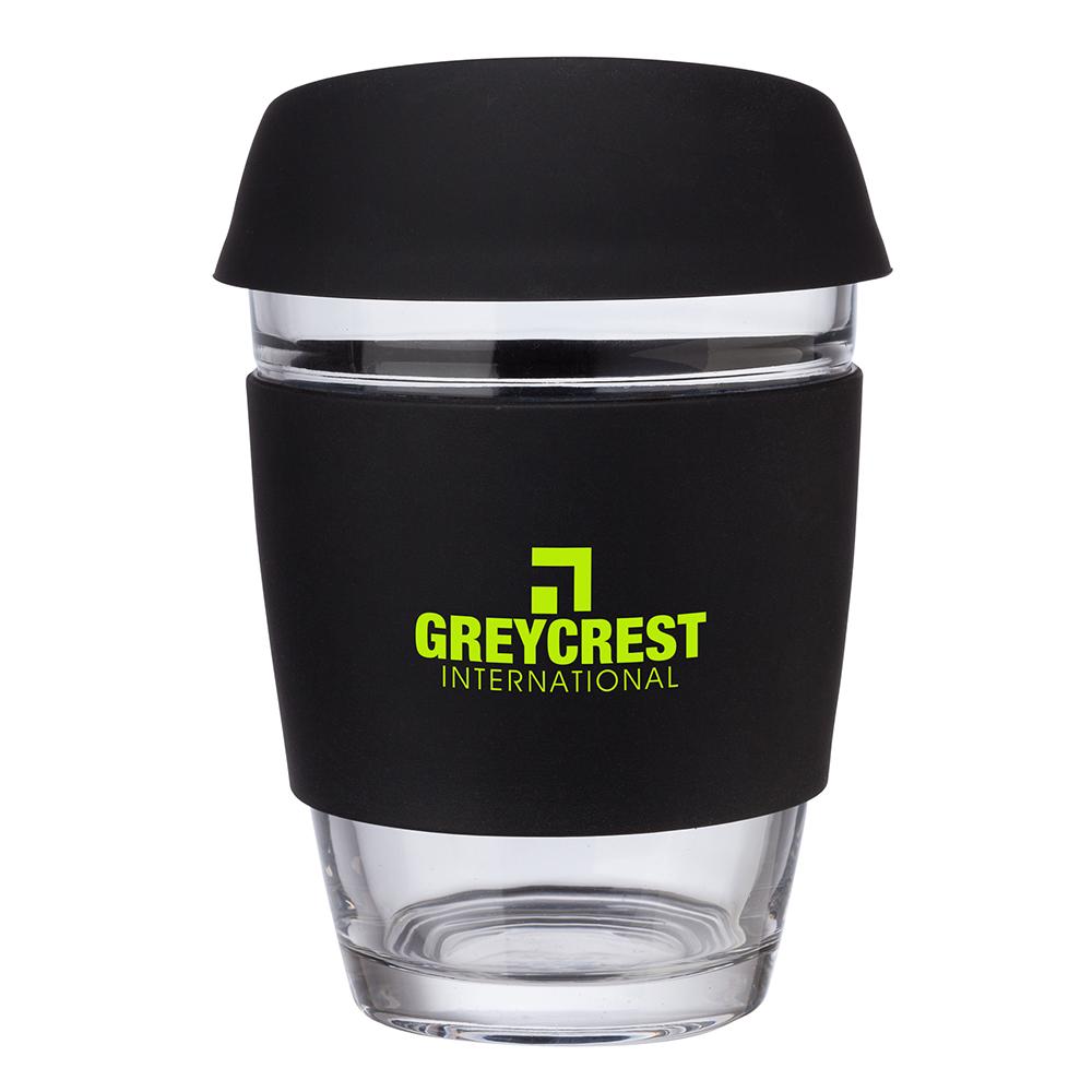 Custom Rizzo Perka® 12 oz. Glass Mug w/ Silicone Grip & Lid