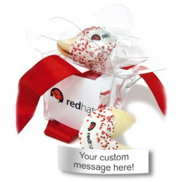 Custom Fortune Cookies - 2pc. Clear Take-out Pail with Custom Message
