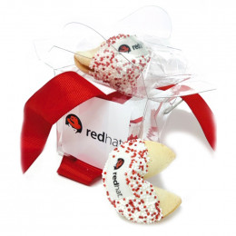 Custom Fortune Cookies - 2pc Clear Take-out Pail with Theme Message