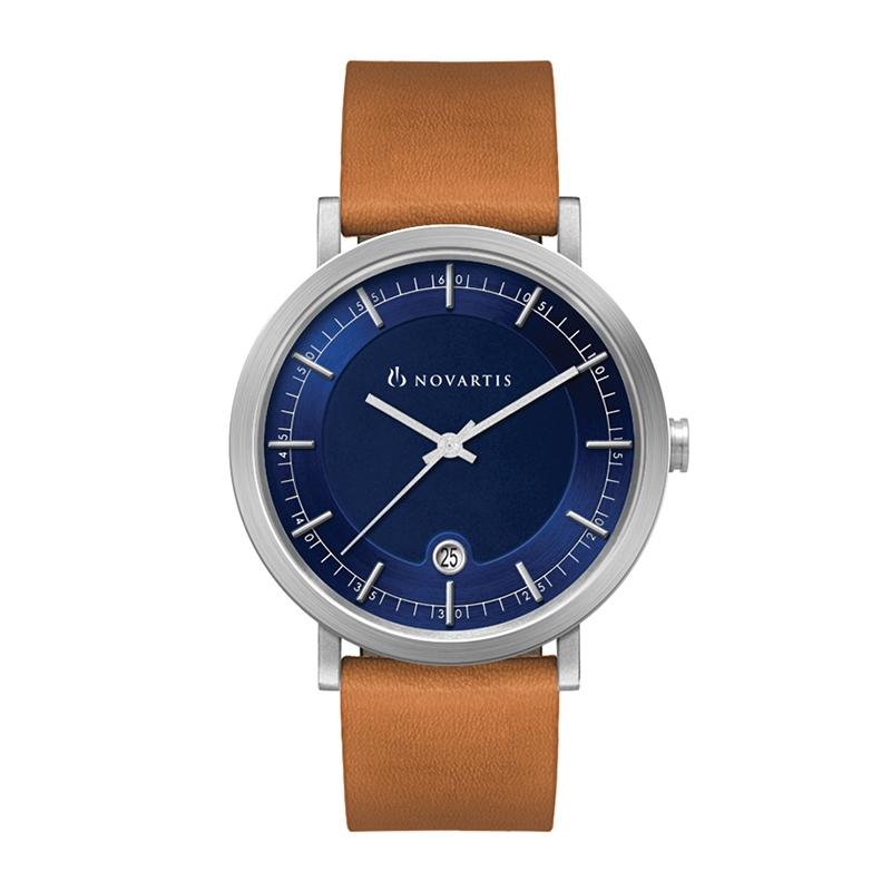 3 Hand MVMT, DTE Display, Blue Dial, Leather Strap Custom Watch